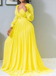 Eric Dress Size Chart Ericdress Plus Size Pleated Floor Length Expansion Yellow
