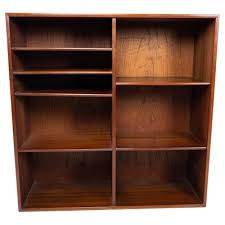 danish teak wall mounted bookcase