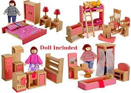 dolls furniture set. Wood Family Doll Dollhouse Furniture Set, Pink Miniature Bathroom/ Kid Room/ Bedroom/ Dolls Set U