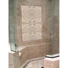 mother of pearl tile shower wall and floor backsplash with mosaic idea 0