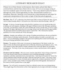 literary essay template samples examples format  sample literary research essay