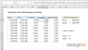 Excel Formula Total Hours That Fall Between Two Times
