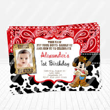 mickey mouse party invitation cowboy mickey mouse birthday invitation