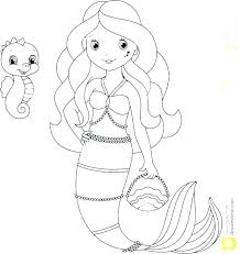 Cute Mermaid Coloring Pages Print Coloring