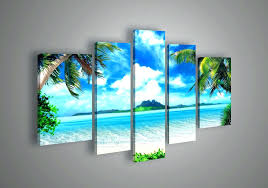 5 piece canvas wall art set five panel seascape 4 uk multi one photo into panels orange sunset wave five panel wall art 3d
