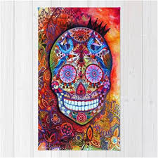 colorful artisan 3 5 mexican sugar skull area rug