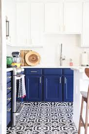 White tile flooring kitchen Wood Navy Blue Kitchen Cabinets Black And White Tile Floor And Gold Kitchen Cabinet Hardware No Pencil Our Navy Blue And White Kitchen Remodel No Pencil