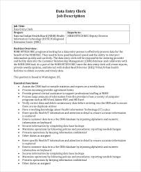 Picturesque Data Entry Clerk Description Sample Job 8 Examples In