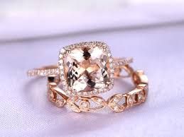 Design Your Own Morganite Engagement Ring Morganite Ring Set 9mm Cushion Shape Morganite Engagement Ring Floral Design Diamond Wedding Band Diamond Wedding Ring Set 14k Rose Gold