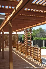 redwood deck over concrete patio with