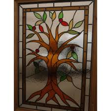 sd056 victorian original 3 pannelled stained glass exterior door tree of life