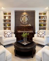 black leather ottoman coffee table for small living room with upright piano and white sofa also using decorative wall ideas