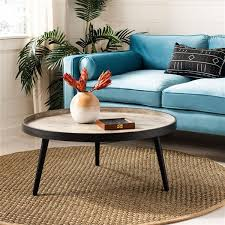 black wood round tray top coffee table