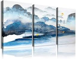 Wall art moon sea ocean landscape picture canvas wall art print paintings modern artwork for living room wall decor and home décor framed ready to hang,1inch thick frame, waterproof artwork. Amazon Com Abstract Mountain Landscape Painting Canvas Wall Art For Living Room Bathroom Wall Decor Canvas Prints Bedroom Decoration Office Home Decorations Kitchen Wall Watercolor Painting Posters Artworks Posters Prints