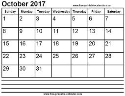 calendar october 2017 print