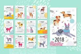 Calendar Sample Design Impressive Calendar Sample 48 Animal Vector Illustration Vector Illustration