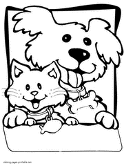 Small Picture Dog and cat coloring pages