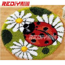Latch Hook Designs Free Us 15 95 45 Off Latch Hook Rug Kits Diy Needlework Unfinished Crocheting Rug Yarn Cushion Mat Ladybird Flowers Embroidery Carpet Free Shipping In