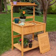 Potting Bench Cypress Wood Lotus Potting Bench With Metal Top Potting Benches