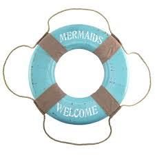 mermaids welcome life saver preserver ring big nautical beach mermaid wall decor