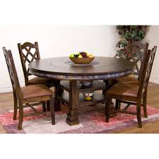 santa fe wood round dining table in dark chocolate