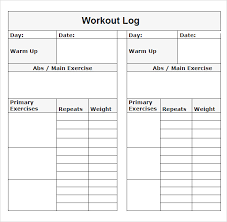 Workout Log Template Pdf
