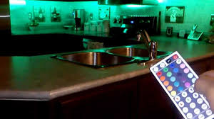 led rgb 5meter strips with 44key remote installed under kitchen cabinets ledxtremesource com you