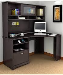 Image of: Corner Desk Hutch Black