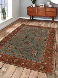 carpets hand tufted wool area rug vintage green rust rugs 8x10