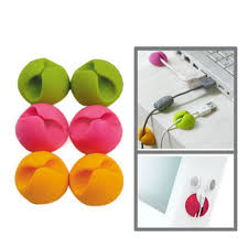 6x Cable Organiser Clips Drop Pack (Assorted Colours)