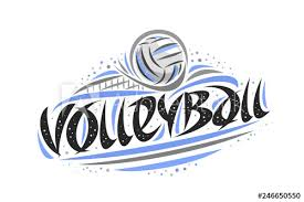 Volleyball Word Vector Logo For Volleyball Outline Illustration Of Thrown