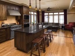 Wooden Floor Kitchen Ideas Dark Wood Cabinets With Hardwood Floors