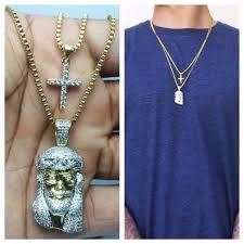 mens gold mini micro piece and cross pendant combo set necklace chain