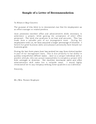 Work Letters Of Recommendation Reference Letter Of Recommendation Sample Sample Manager