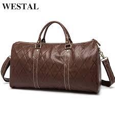 westal genuine leather men travel bags carry on luggage bag zipper men bags casual men s travel leather duffle bag handbag tote