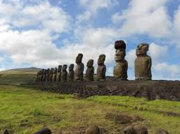 red statue platform with standing moai on the south coast of rapa nui note that