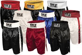 Title Classic Stock Boxing Trunks Solid Black Boxing