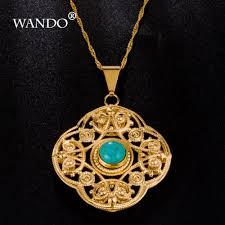 2019 wando newest turkey blue stone pendants gold color pendant necklace fashion jewelry slide pendants arabic women girls giftswp1 from isaaco