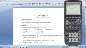 solving trigonometric equations with a graphing calculator part ii