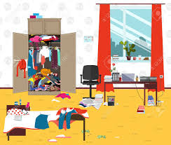 messy room where young lady lives ager or student untidy room cartoon mess