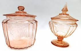 vintage style rose colored glass canisters goodwill com