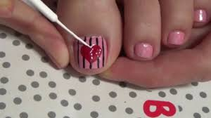 Striped heart beautiful hand painted nail art cute simple - simple ...