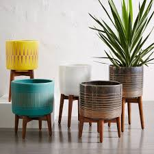 living room outstanding plant pot stand indoor mid century flower bullet planter turned leg stands on