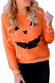 Fubotevic Women Fashion <b>Drawstring Halloween Pumpkin Print</b> ...