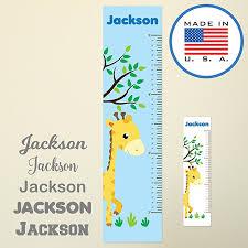 Wallclipz Personalized Growth Chart Giraffe And Tree Fabric