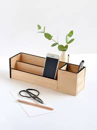 Diy office desk accessories Do It Yourself Diy Wood Desk Organizer The Spruce Crafts 42 Diys For Beautiful Organized Office