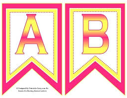 5 Inch Swallowtail Pink Yellow Printable Banner Letter