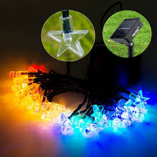 Lights For 30 Led 20ft Multi Color Fairy Star String Waterproof Solar