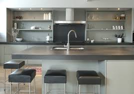 Gray Counter Kitchen Island With Leather Bar Stools