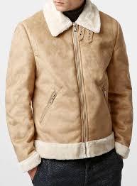 topman camel faux suede shearling lined flight jacket